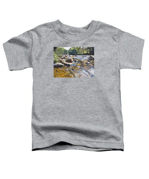 Toddler T-Shirt featuring the painting Granite Boulders East Okement River by Lawrence Dyer