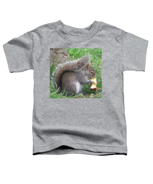 Gray Squirrel With An Apple Core Toddler T-Shirt