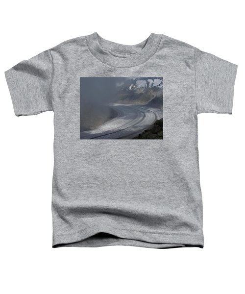 Great Aletsch Glacier In The Clouds. Canton Of Valais, Switzerland. Toddler T-Shirt