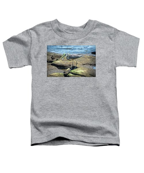 Great Blue Heron Catching A Blue Crab On Chesapeake Bay Toddler T-Shirt