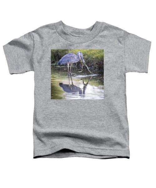 Great Blue Heron Vs Huge Frog Toddler T-Shirt