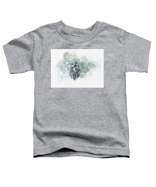 Great Grey Owl In Snowstorm Toddler T-Shirt