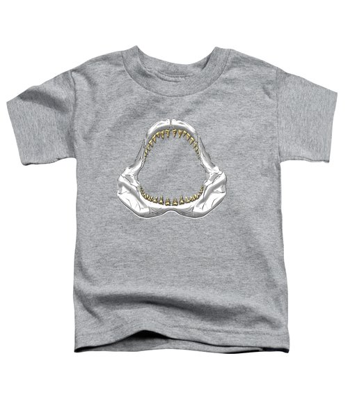 Great White Shark - Silver Jaws With Gold Teeth On White Canvas Toddler T-Shirt