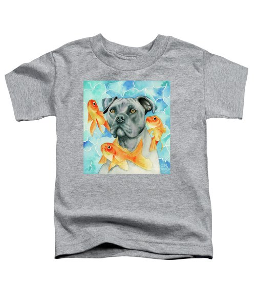 Guardian - Pit Bull Dog And Goldfishes Watercolor Painting Toddler T-Shirt