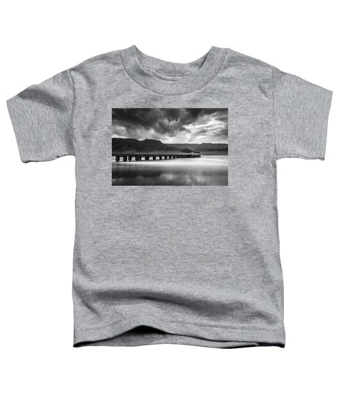 Hanalei Pier In Black And White Toddler T-Shirt
