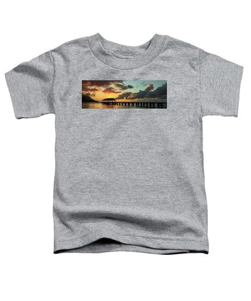 Hanalei Pier Sunset Panorama Toddler T-Shirt