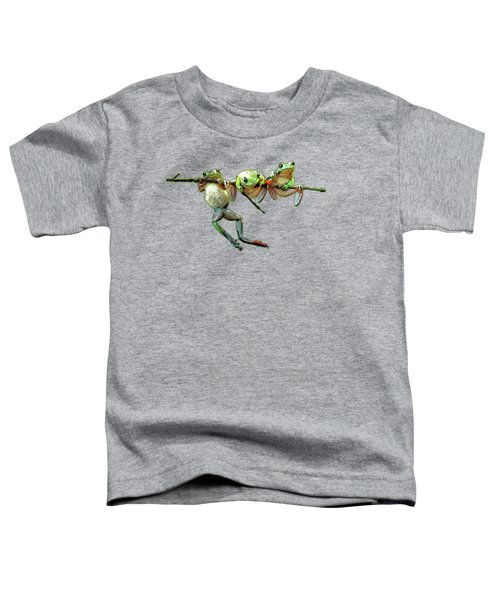 Hang In There Froggies Toddler T-Shirt by Elaine Plesser