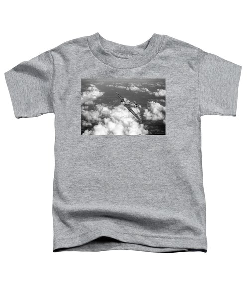 Toddler T-Shirt featuring the photograph Hawker Hurricane IIb Of 174 Squadron Bw Version by Gary Eason