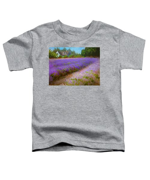 Impressionistic Lavender Field Landscape Plein Air Painting Toddler T-Shirt