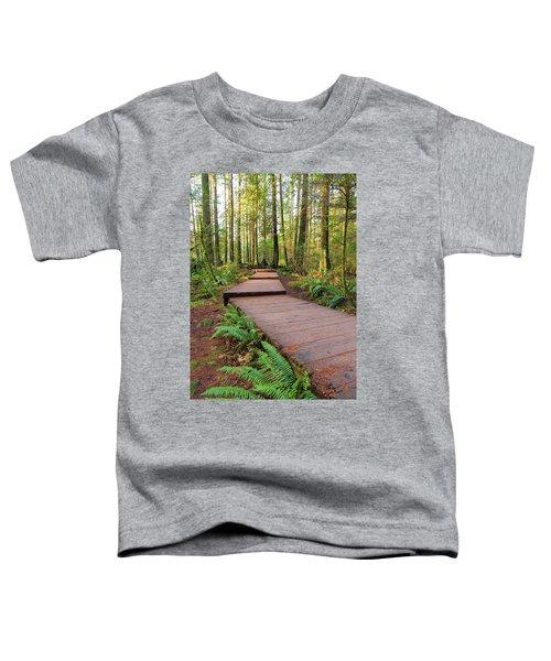 Hiking Trail Wood Walkway In Lynn Canyon Park Toddler T-Shirt