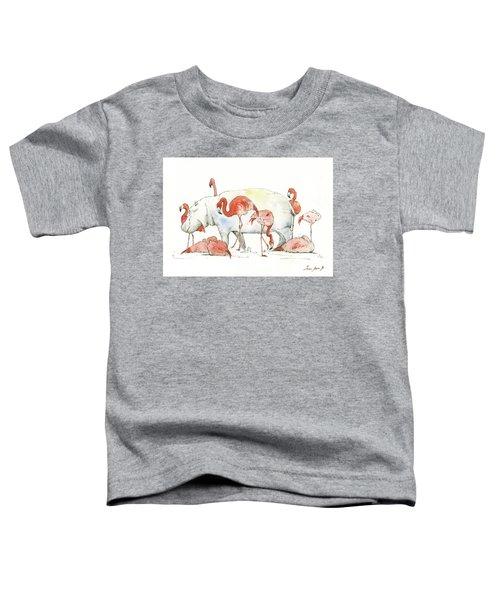Hippo And Flamingos Toddler T-Shirt