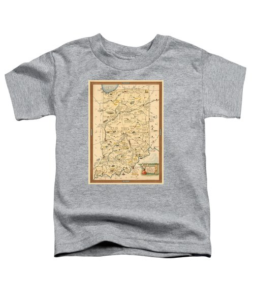 Historical Illustrated Map Of Indiana - Cartography - Vintage Map Toddler T-Shirt