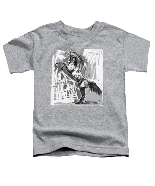 Horse Rising High Black And White Toddler T-Shirt