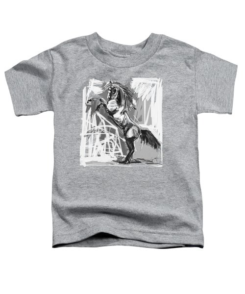 Toddler T-Shirt featuring the painting Horse Rising High Black And White by Go Van Kampen