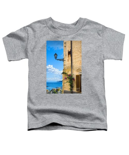 House With Bougainvillea Street Lamp And Distant Sea Toddler T-Shirt