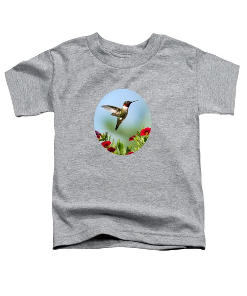 Hummingbird Frolic With Flowers Toddler T-Shirt by Christina Rollo
