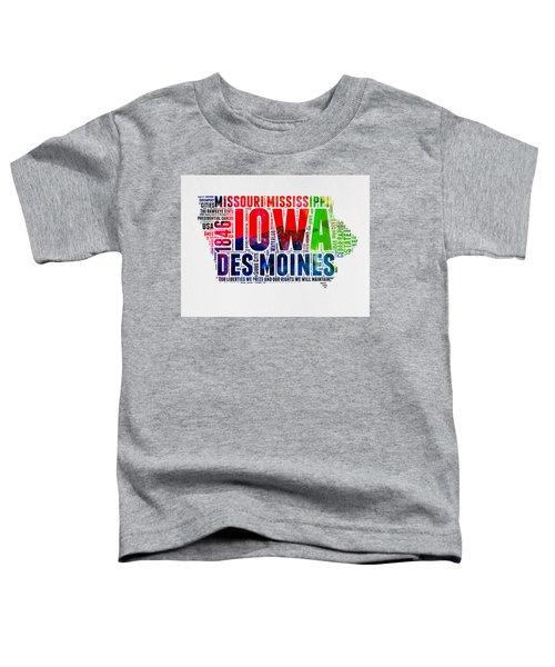Iowa Watercolor Word Cloud  Toddler T-Shirt
