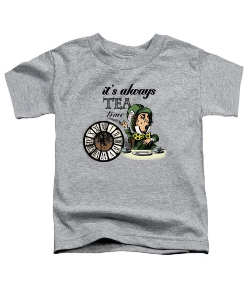 It's Always Tea Time Mad Hatter Dictionary Art Toddler T-Shirt by Jacob Kuch