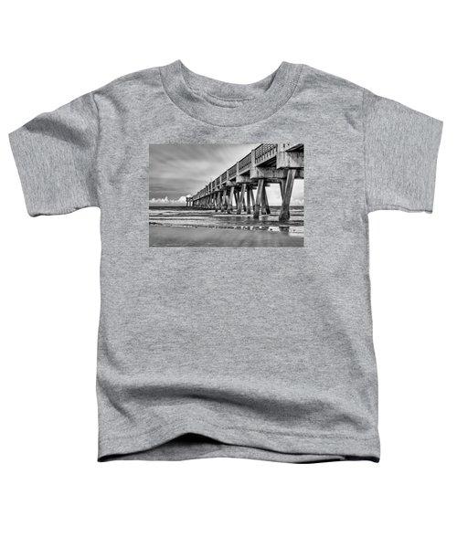 Jacksonville Beach Pier In Black And White Toddler T-Shirt