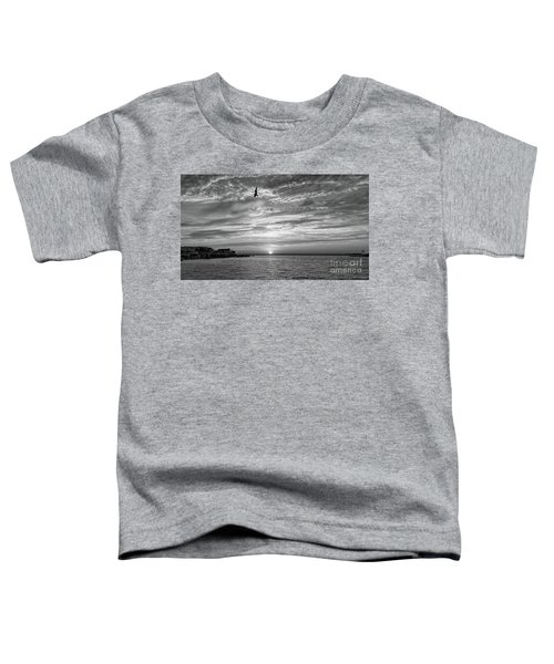 Jersey Shore Sunset In Black And White Toddler T-Shirt