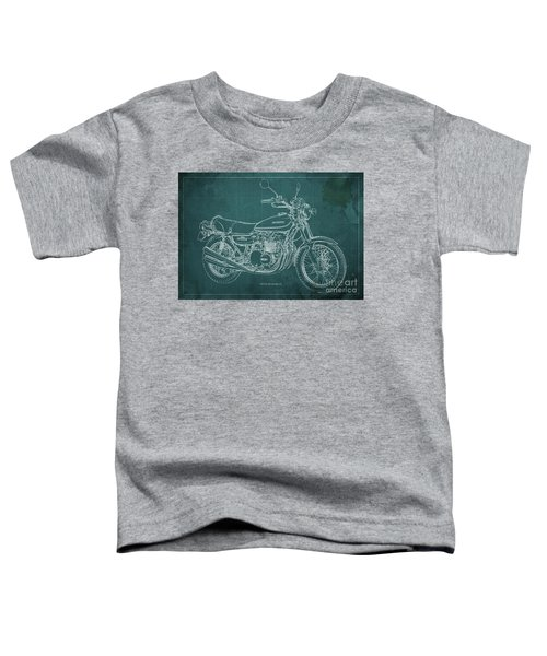 Kawasaki Motorcycle Blueprint, Mid Century Art Print Toddler T-Shirt