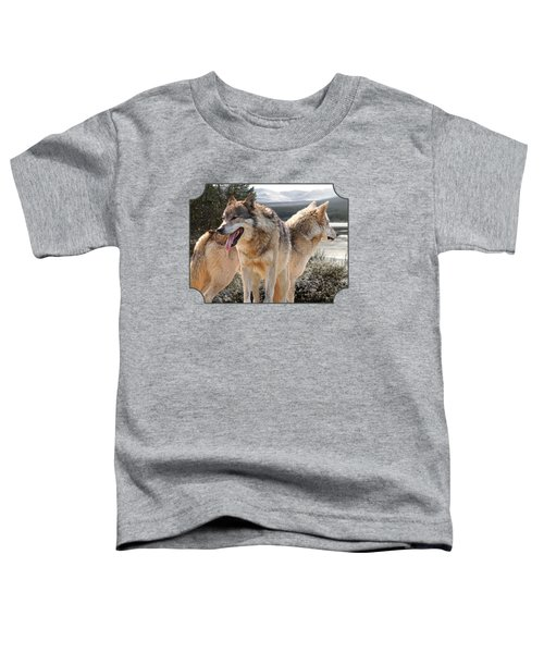 Keeping Watch - Pair Of Wolves Toddler T-Shirt by Gill Billington