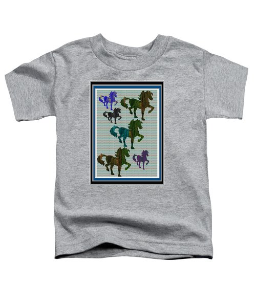Kids Fun Gallery Horse Prancing Art Made Of Jungle Green Wild Colors Toddler T-Shirt