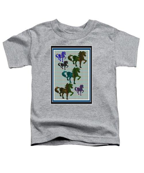 Kids Fun Gallery Horse Prancing Art Made Of Jungle Green Wild Colors Toddler T-Shirt by Navin Joshi