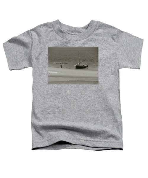Lamu Island - Wooden Fishing Dhow Getting Unloaded - Black And White Toddler T-Shirt