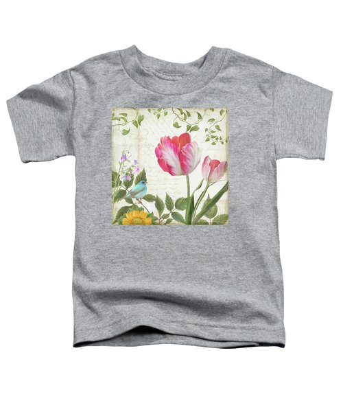 Les Magnifiques Fleurs IIi - Magnificent Garden Flowers Parrot Tulips N Indigo Bunting Songbird Toddler T-Shirt by Audrey Jeanne Roberts