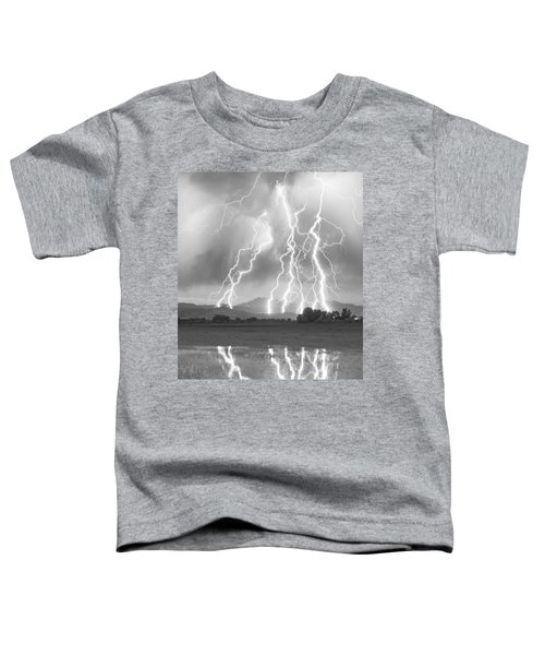 Lightning Striking Longs Peak Foothills 4cbw Toddler T-Shirt by James BO  Insogna