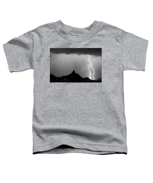 Lightning Thunderstorm At Pinnacle Peak Bw Toddler T-Shirt