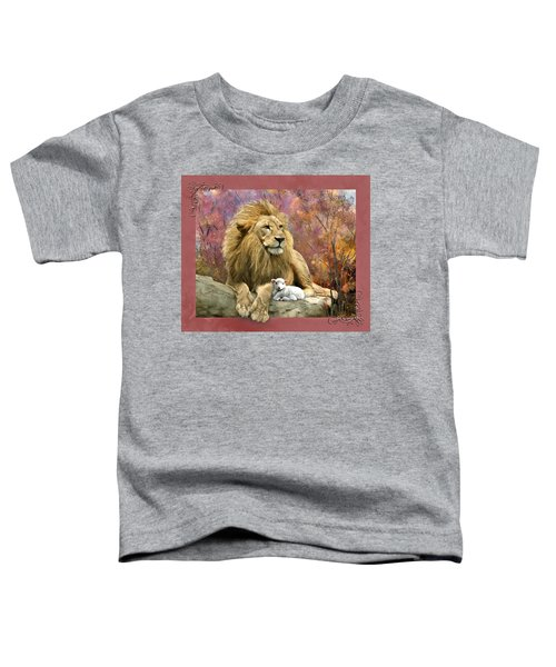 Toddler T-Shirt featuring the digital art Lion And The Lamb by Susan Kinney