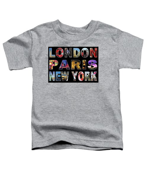 Toddler T-Shirt featuring the digital art London Paris New York, Black Background by Adam Spencer