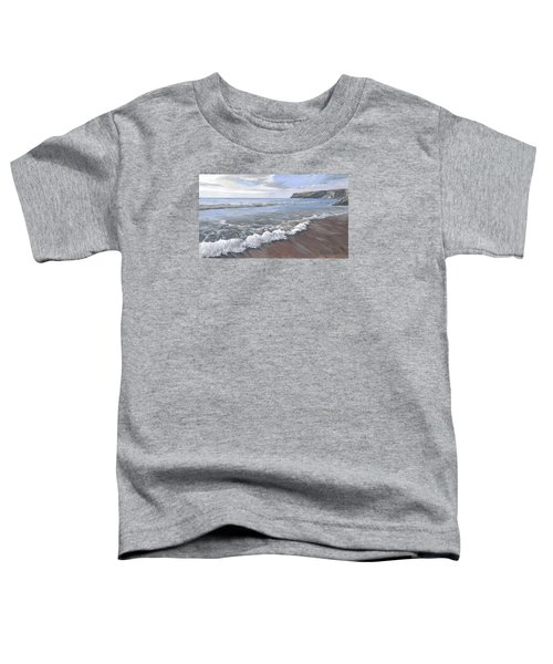 Toddler T-Shirt featuring the painting Long Waves At Trebarwith by Lawrence Dyer