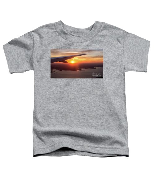 Looking At Sunset From Airplane Window With Lake In The Backgrou Toddler T-Shirt
