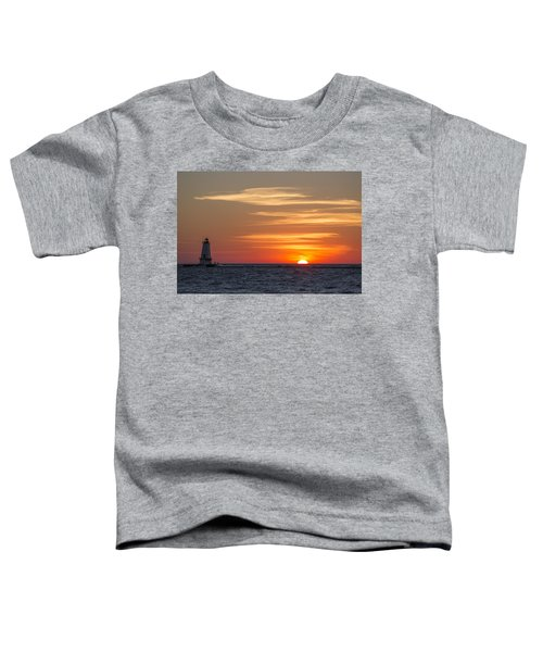 Toddler T-Shirt featuring the photograph Ludington North Breakwater Light At Sunset by Adam Romanowicz