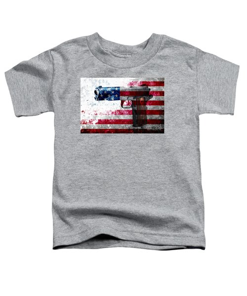 M1911 Colt 45 And American Flag On Distressed Metal Sheet Toddler T-Shirt
