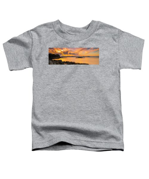 Maine Rocky Coastal Sunset In Penobscot Bay Panorama Toddler T-Shirt