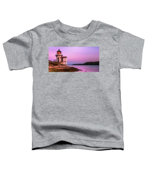 Maine Squirrel Point Lighthouse On Kennebec River Sunset Panorama Toddler T-Shirt