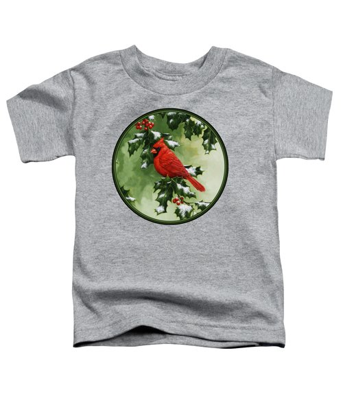 Male Cardinal And Holly Phone Case Toddler T-Shirt