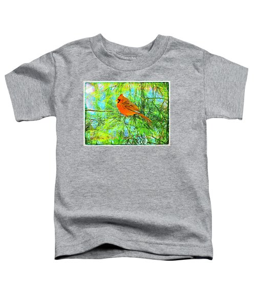 Male Cardinal In Juniper Tree Toddler T-Shirt