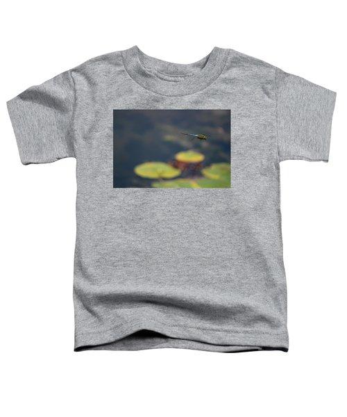Malibu Blue Dragonfly Flying Over Lotus Pond Toddler T-Shirt