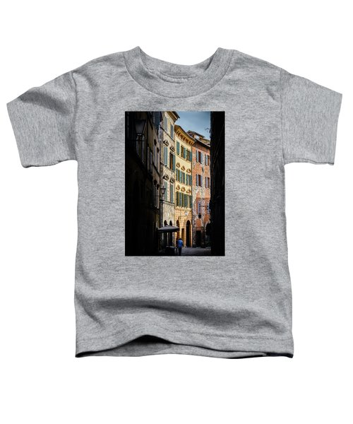 Man Walking Alone In Small Street In Siena, Tuscany, Italy Toddler T-Shirt