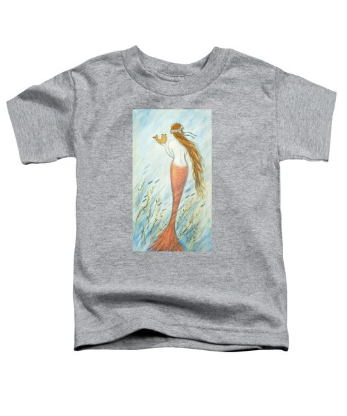 Mermaid And Her Catfish, Goldie Toddler T-Shirt by Tina Obrien
