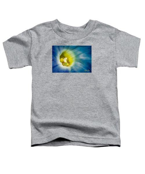 Metallic Green Bee In Blue Morning Glory Toddler T-Shirt