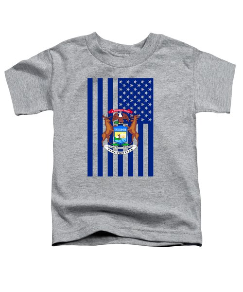 Michigan State Flag Graphic Usa Styling Toddler T-Shirt