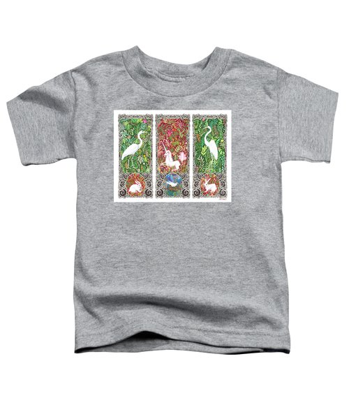 Millefleurs Triptych With Unicorn, Cranes, Rabbits And Dove Toddler T-Shirt