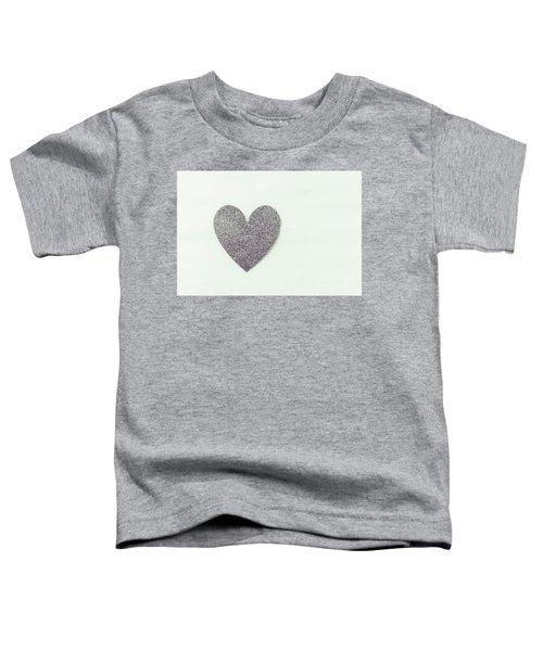 Minimalistic Silver Glitter Heart Toddler T-Shirt