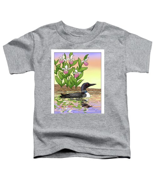 Minnesota State Bird Loon And Flower Ladyslipper Toddler T-Shirt by Crista Forest